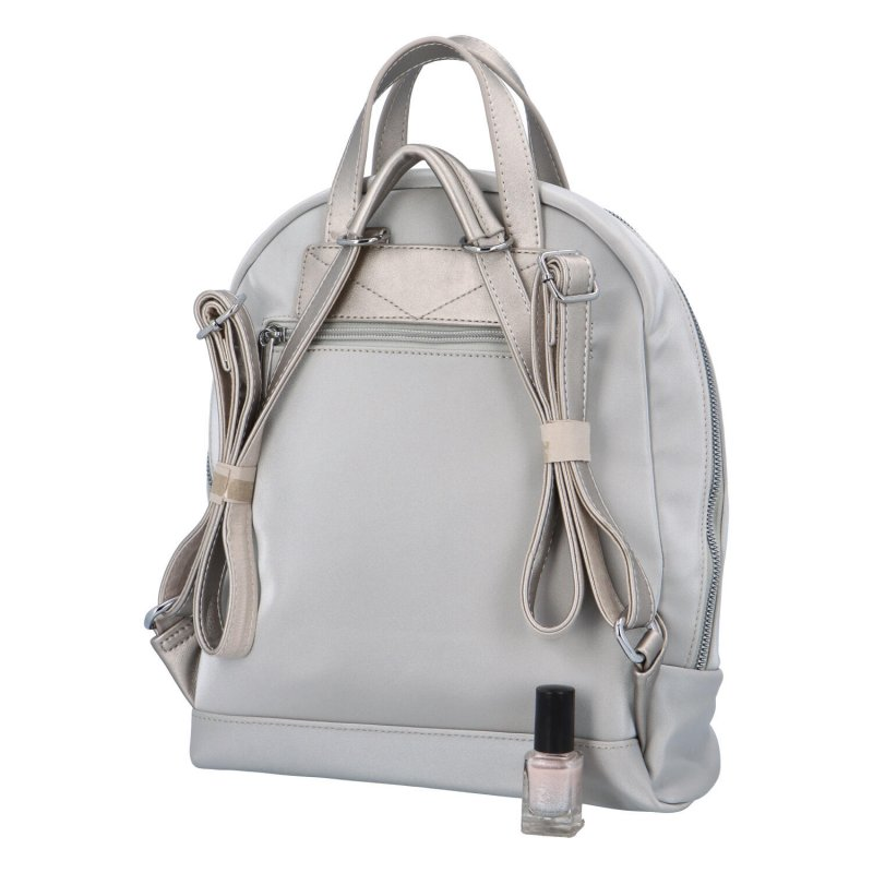 Menší dámský městský koženkový batůžek Sendi, stříbrná