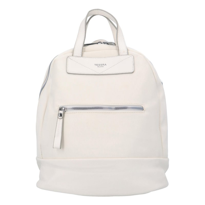 Menší dámský městský koženkový batůžek Sendi, bílá