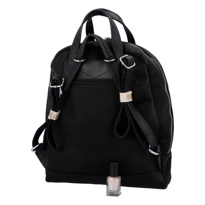 Menší dámský městský koženkový batůžek Sendi, černá