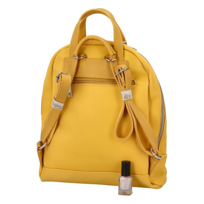 Menší dámský městský koženkový batůžek Sendi, žlutá