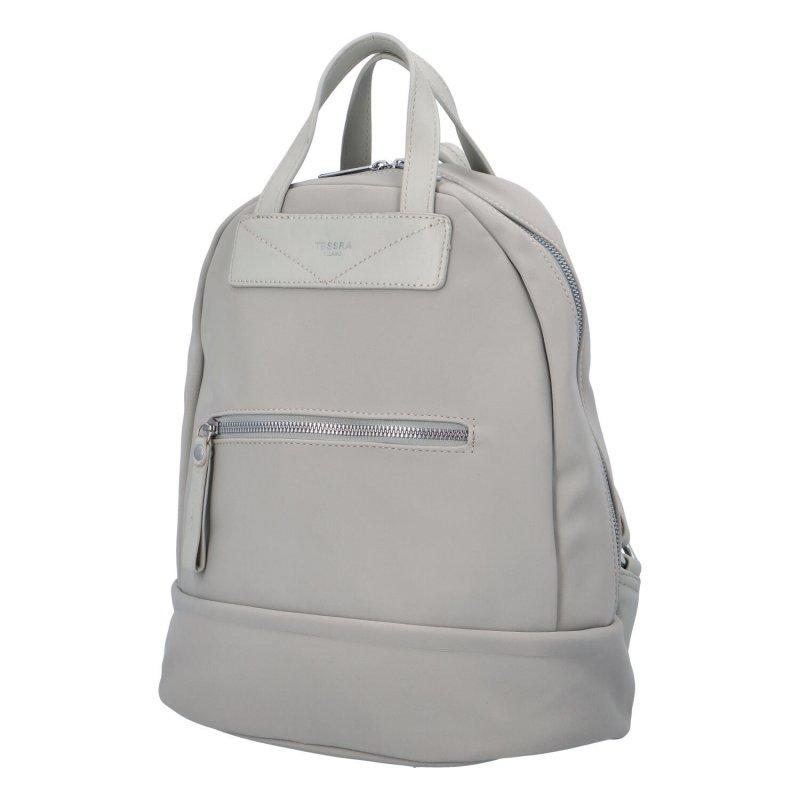 Menší dámský městský koženkový batůžek Sendi, světle šedá