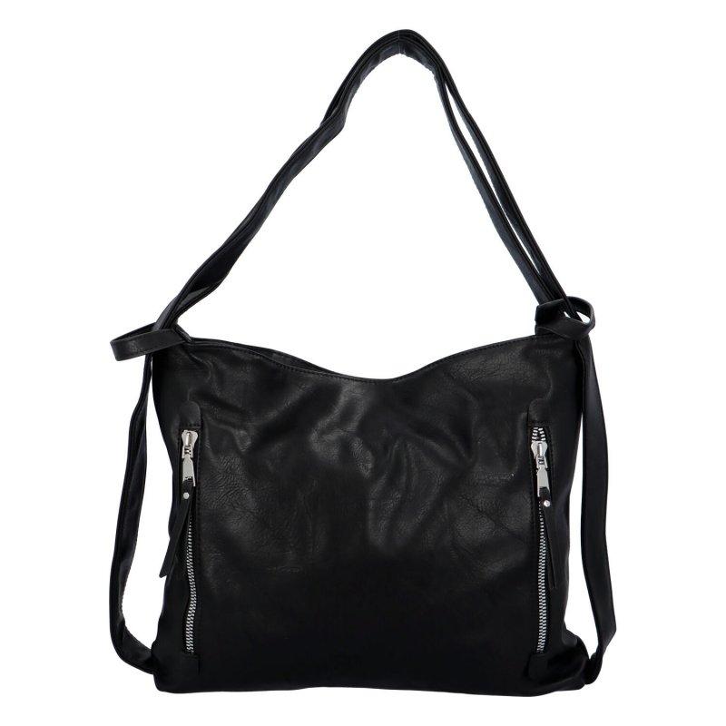 Koženková kabelka-batoh Egon, černá