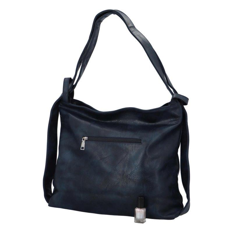Koženková kabelka-batoh Egon, tmavě modrá