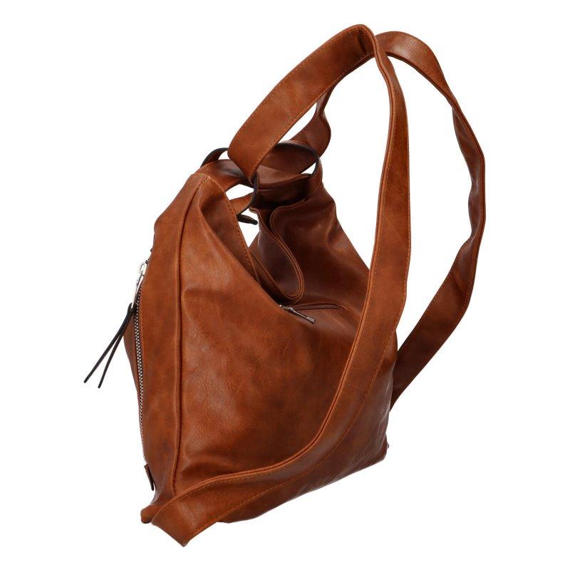 Koženková kabelka-batoh Egon, hnědá