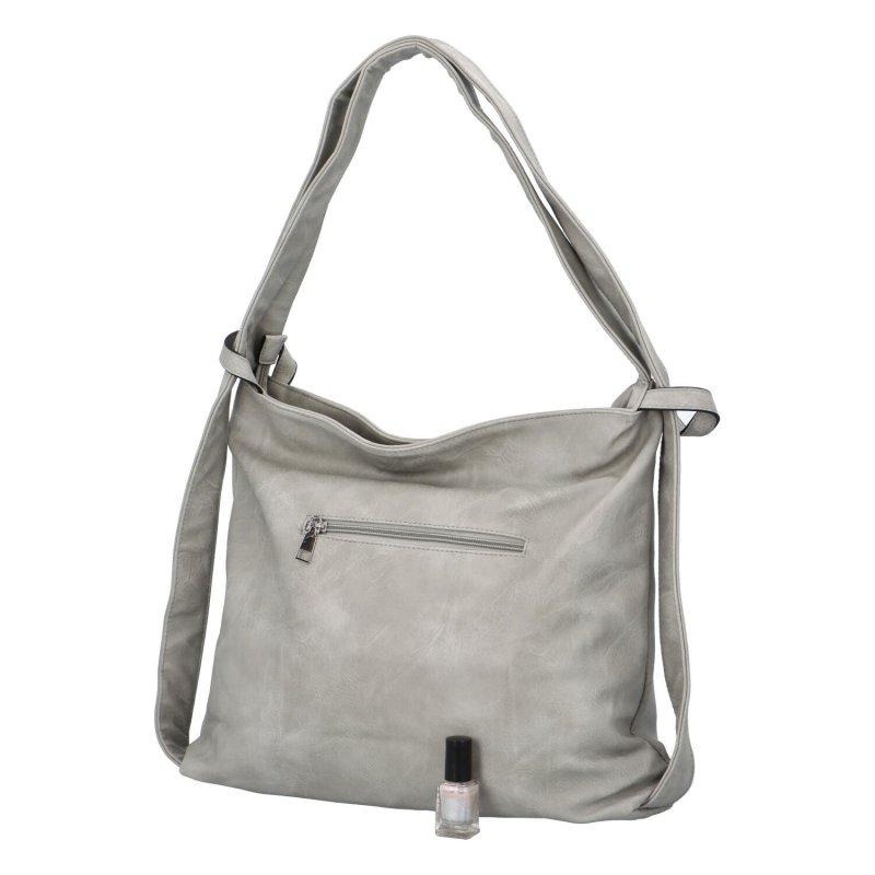 Koženková kabelka-batoh Egon, šedá