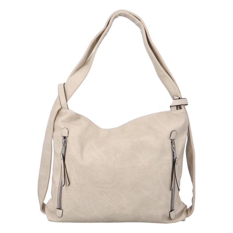 Koženková kabelka-batoh Egon, béžová