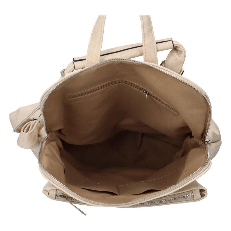 Prostorný koženkový batoh Karolin, béžový