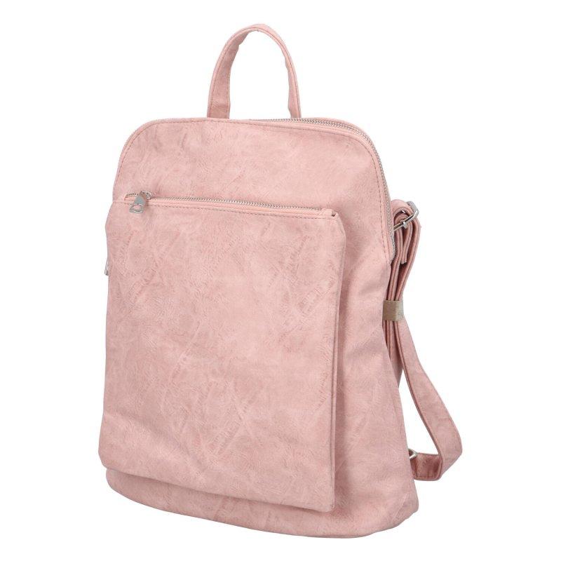 Prostorný koženkový batoh Karolin, růžový