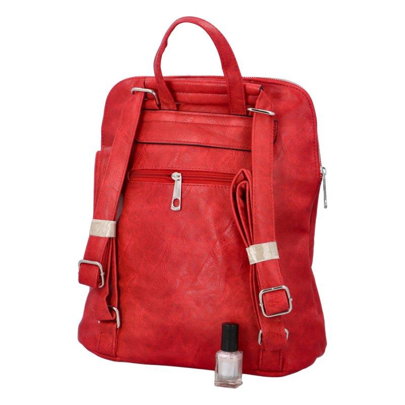 Prostorný koženkový batoh Karolin, červený