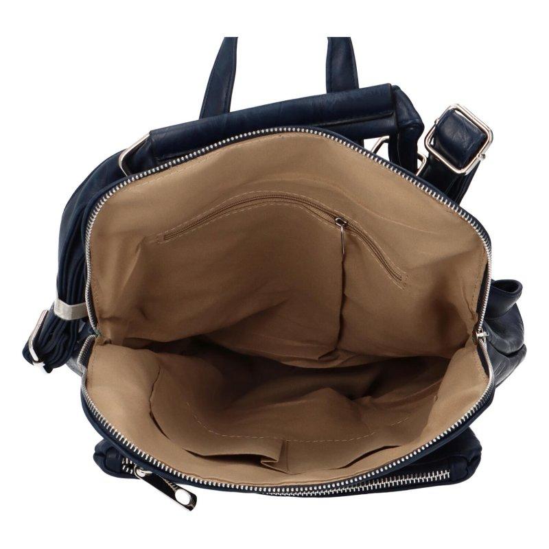 Prostorný koženkový batoh Karolin, tmavě modrý