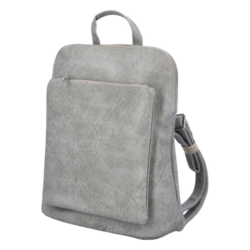 Prostorný koženkový batoh Karolin, šedý