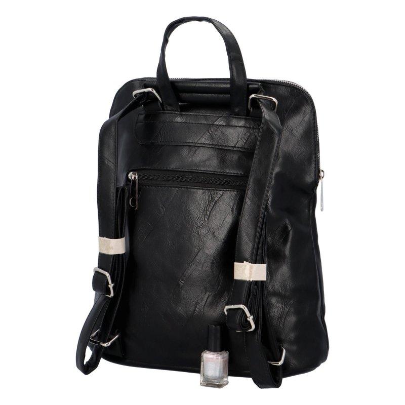 Prostorný koženkový batoh Karolin, černý