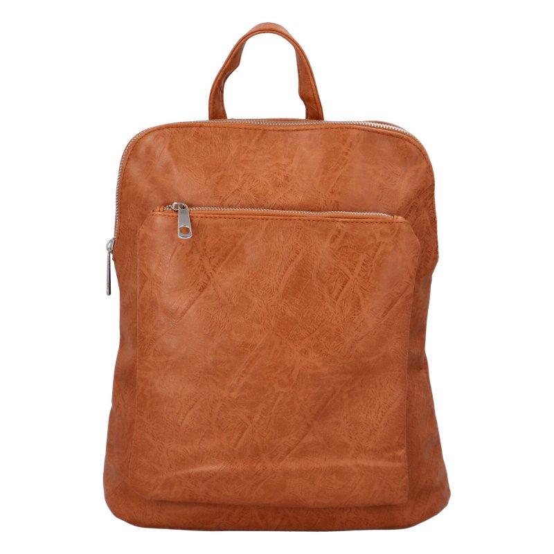 Prostorný koženkový batoh Karolin, hnědý