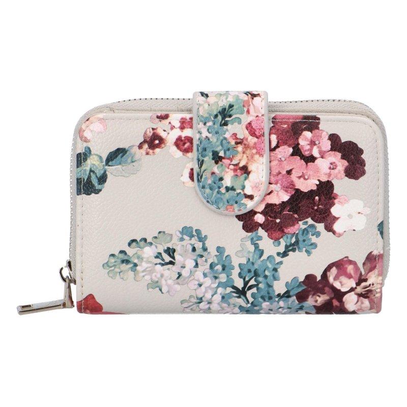 Krásná dámská peněženka s květinami Peonny, béžová