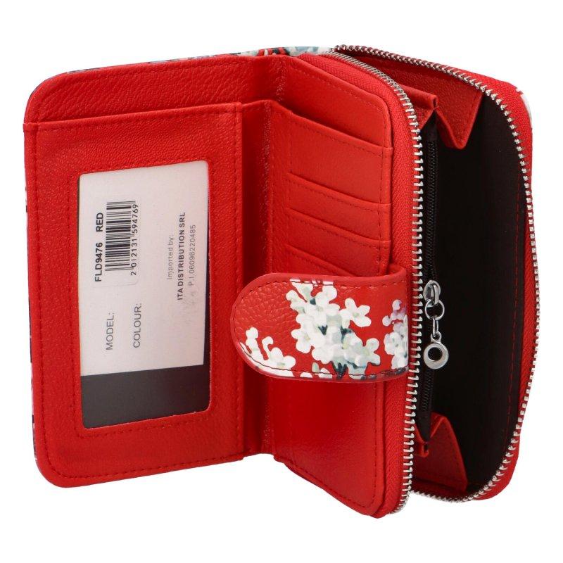 Krásná dámská peněženka s květinami Peonny, červená