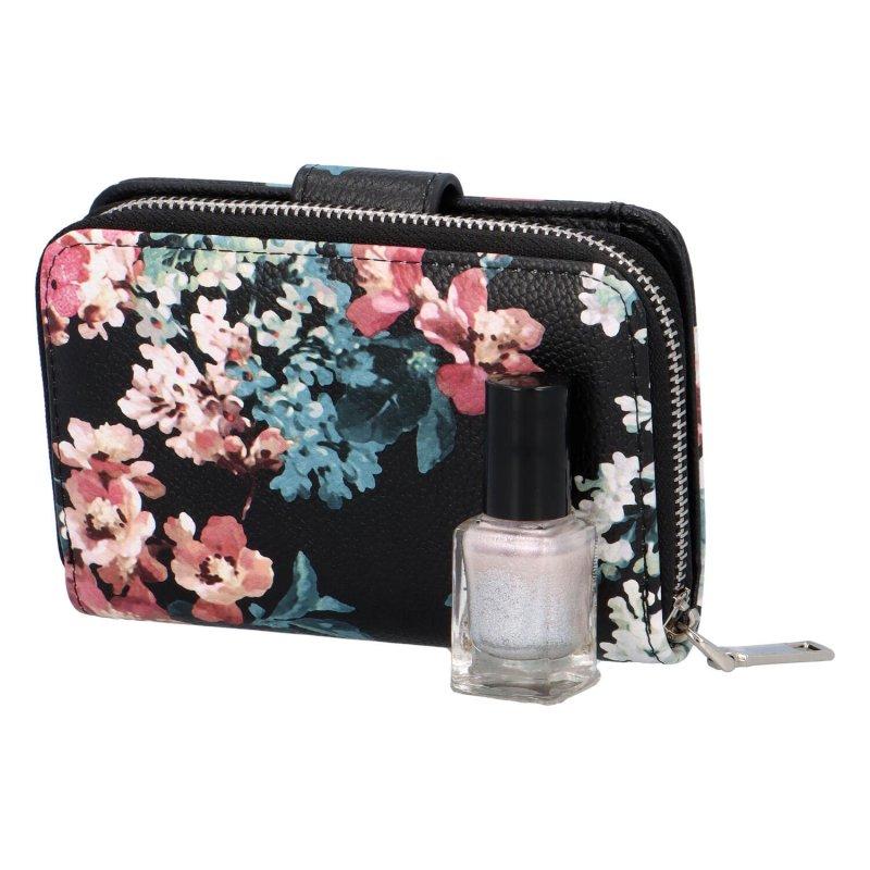 Krásná dámská peněženka s květinami Peonny, černá