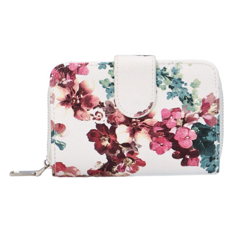 Krásná dámská peněženka s květinami Peonny, bílá