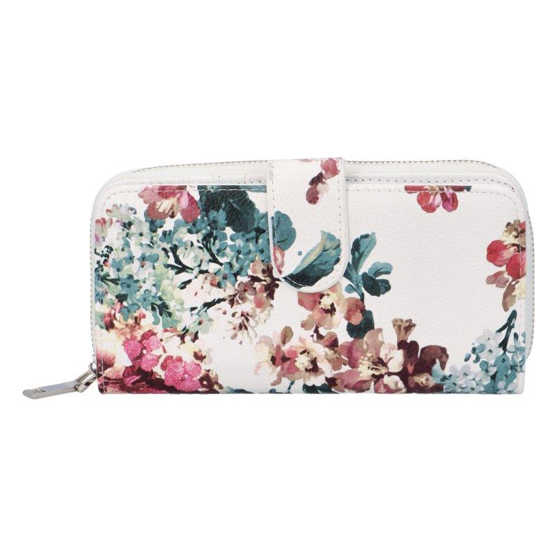 Krásná velká květinová peněženka Poppy, bílá