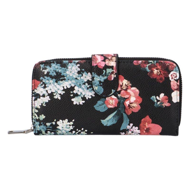 Krásná velká květinová peněženka Poppy, černá