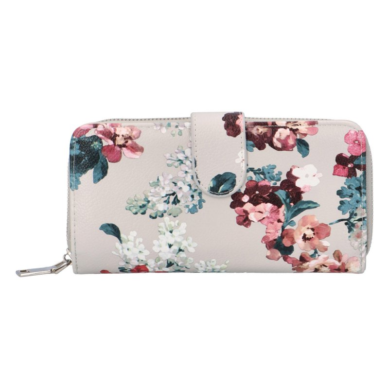 Krásná velká květinová peněženka Poppy, béžová