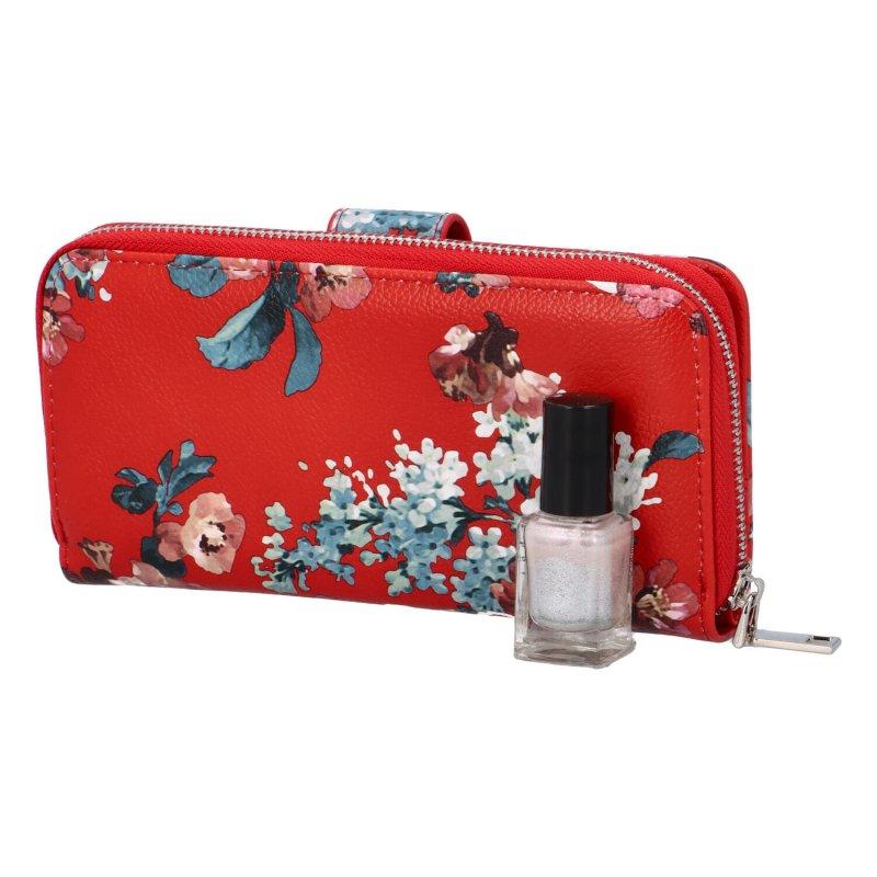 Krásná velká květinová peněženka Poppy, červená