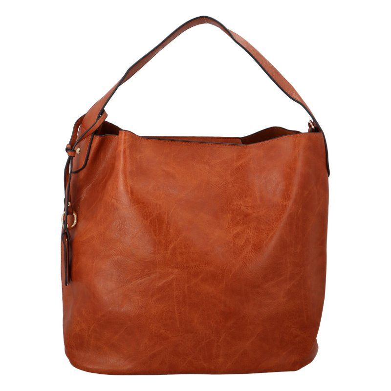 Nadčasová koženková kabelka Gloria, hnědá