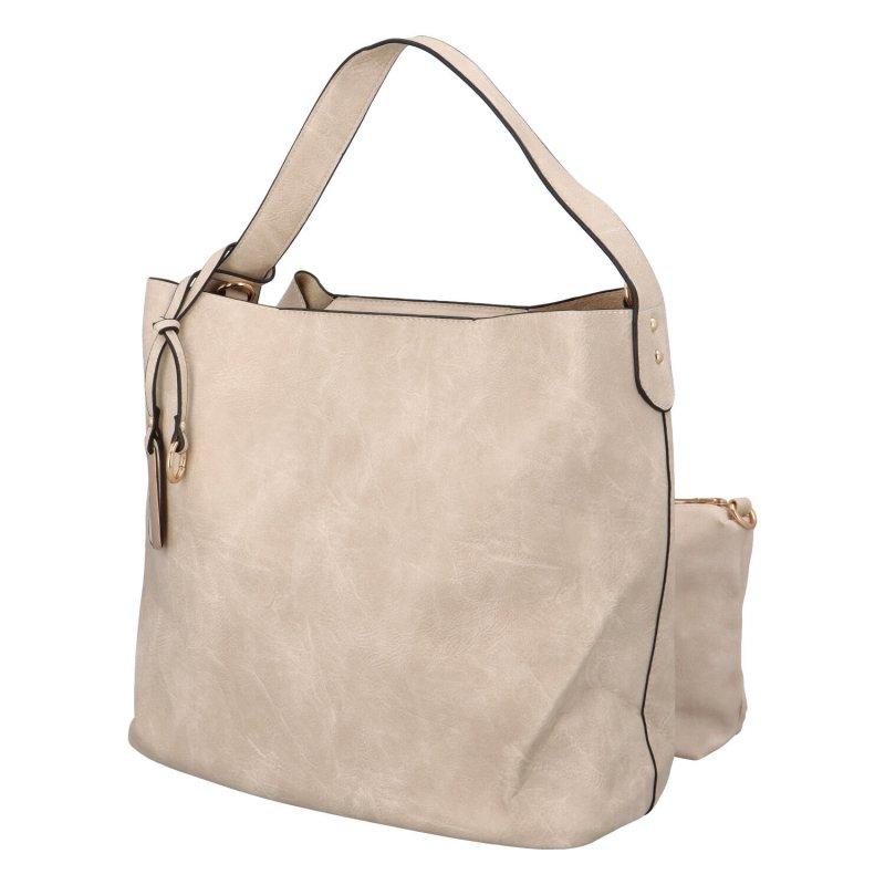 Nadčasová koženková kabelka Gloria, béžová