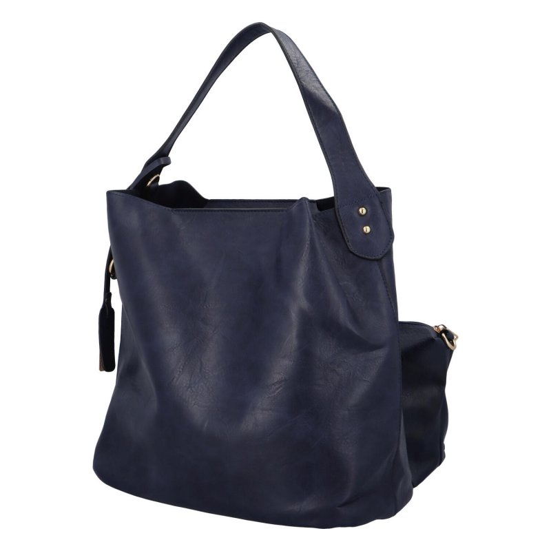 Nadčasová koženková kabelka Gloria, modrá