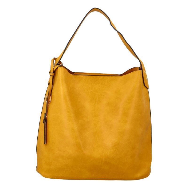 Nadčasová koženková kabelka Gloria, žlutá