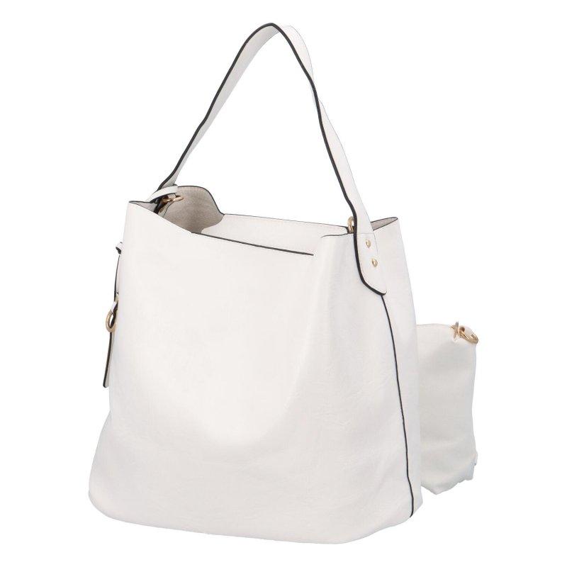 Nadčasová koženková kabelka Gloria, bílá