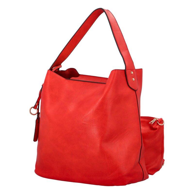 Nadčasová koženková kabelka Gloria, červená