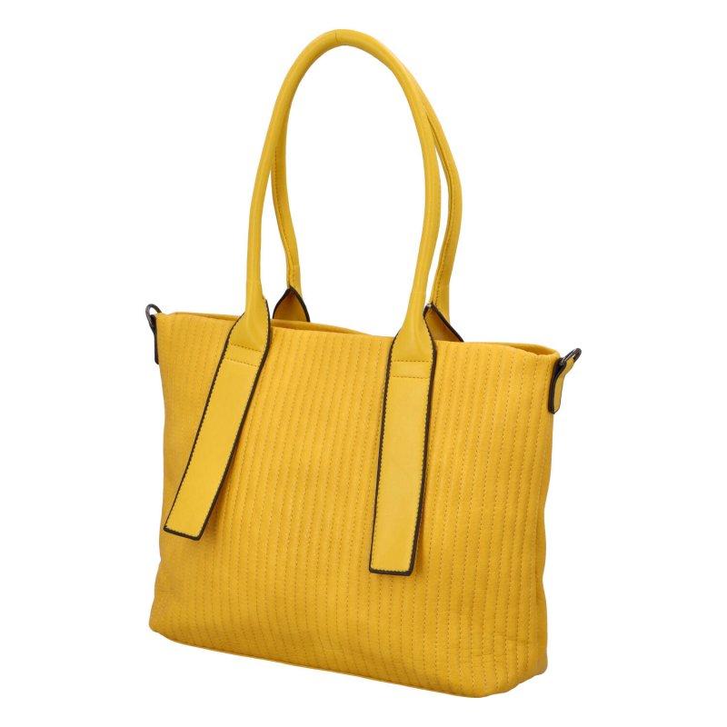 Elegantní prostorná dámská kabelka Lada, žlutá
