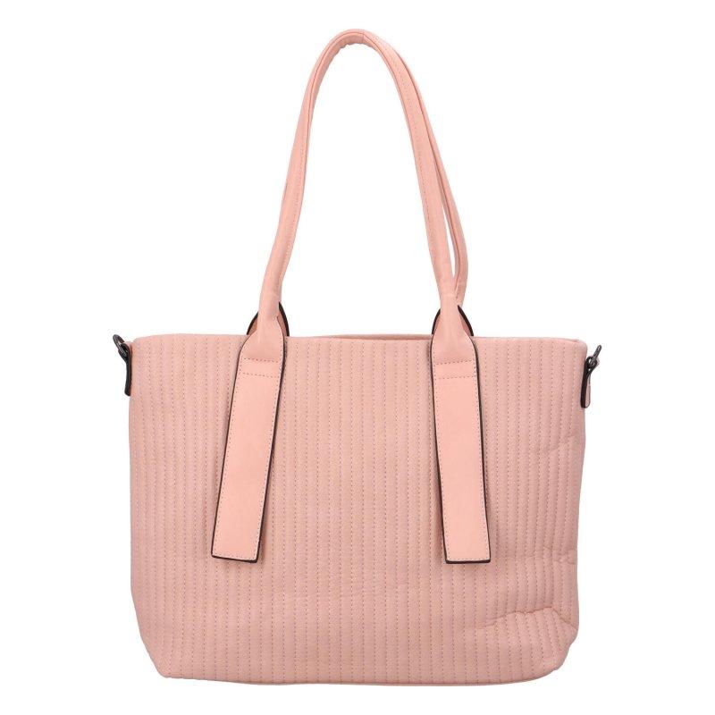 Elegantní prostorná dámská kabelka Lada, růžová