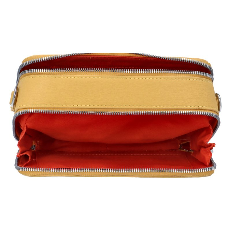 Malá koženková crossbody kabelka Lisa, žlutá