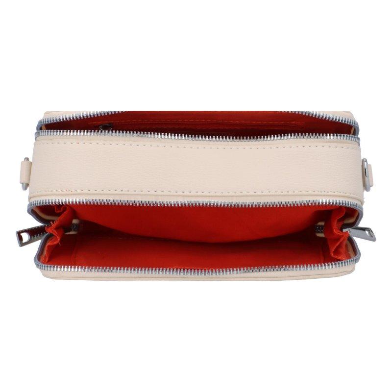 Malá koženková crossbody kabelka Lisa, béžová