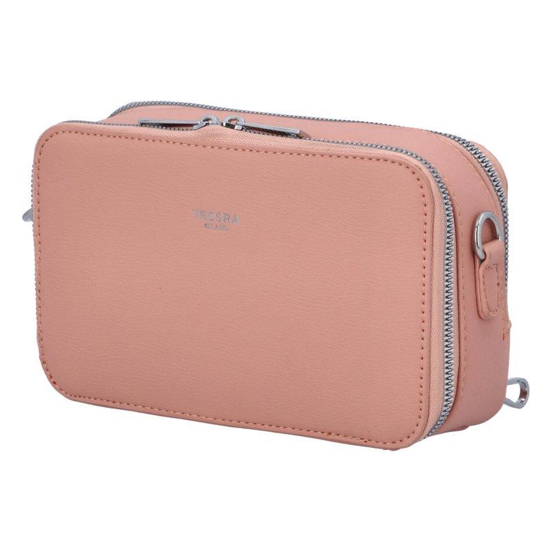 Malá koženková crossbody kabelka Lisa, růžová