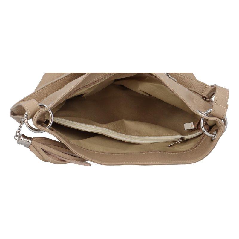 Luxusní kožená kabelka se zipem Gustav, taupe