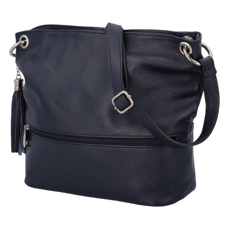 Luxusní kožená kabelka se zipem Gustav, modrá