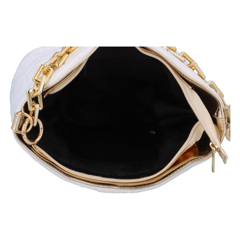 Krásná módní kabelka s řetízkovým popruhem Diana, bílá