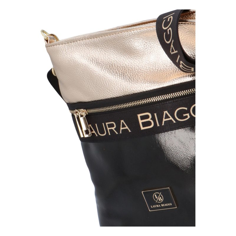 Luxusní dámská crossbody Ellen Laura, černá-zlatá