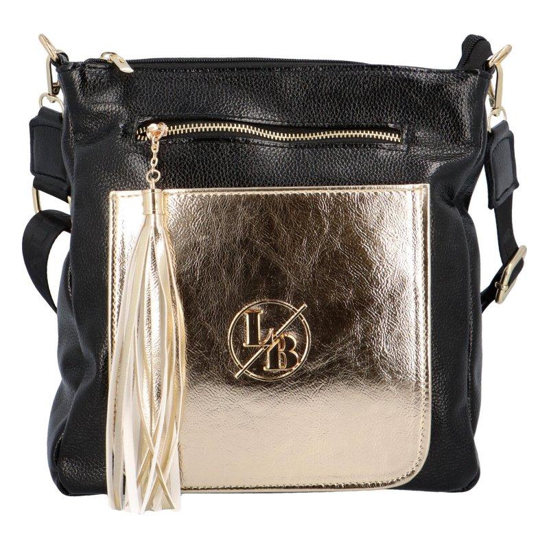 Stylová kabelka se zlatou kapsou Ana, černá-zlatá