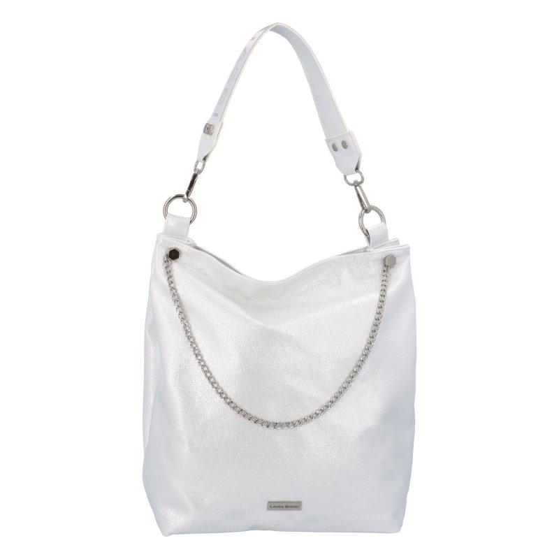 Luxusní dámská koženková kabelka Loki, stříbrná