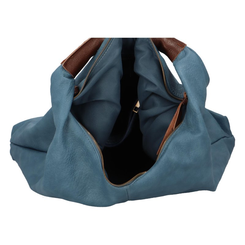 Velká prostorná koženková kabelka Irma, světle modrá
