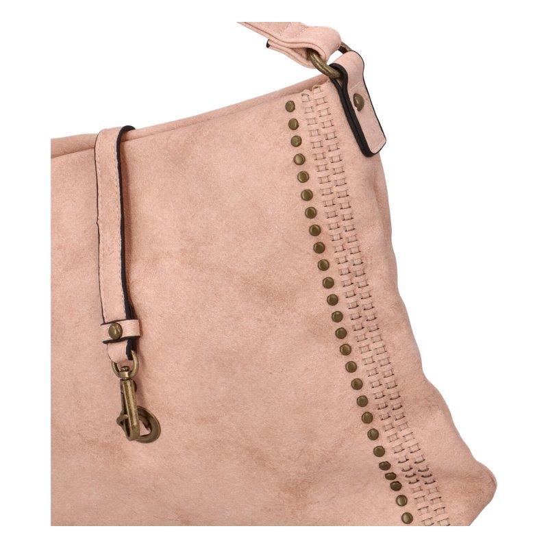 Trendy velká koženková crossbody kabelka Eleanor, růžová