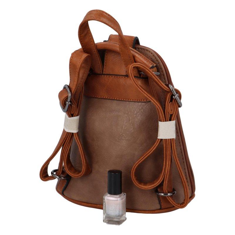 Moderní koženkový batůžek Yaro, světle hnědá
