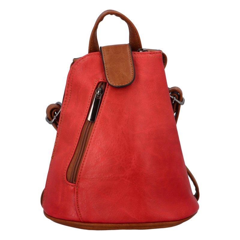 Moderní koženkový batůžek Yaro, červený