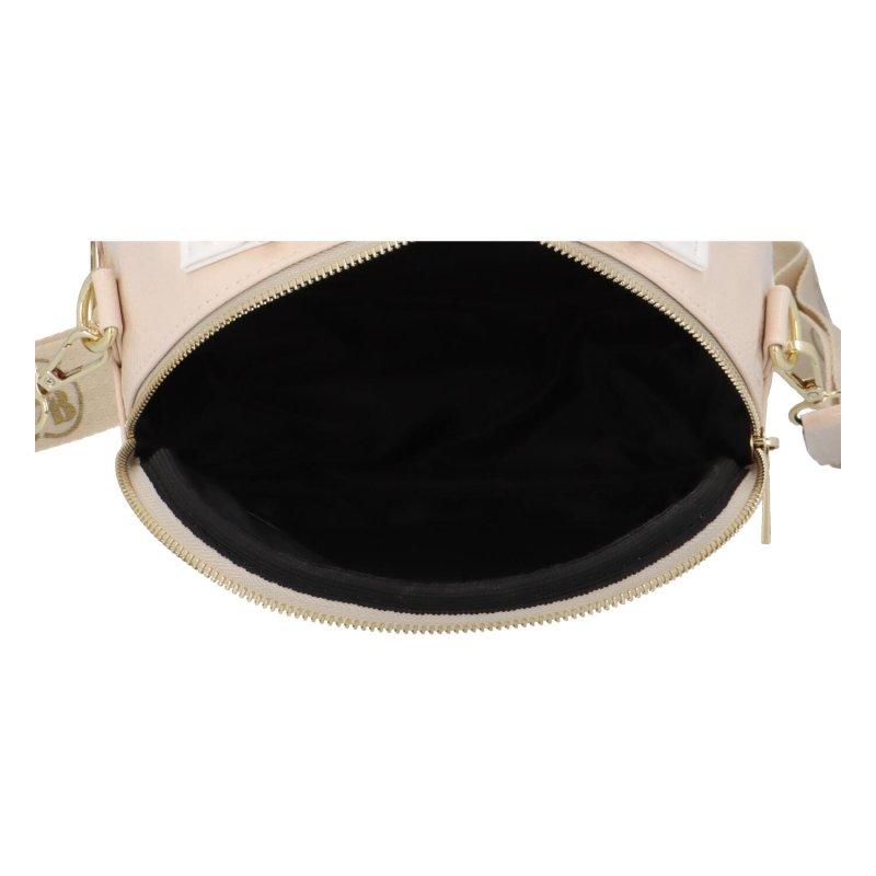 Lesklá koženková crossbody kabelka Cane, béžová