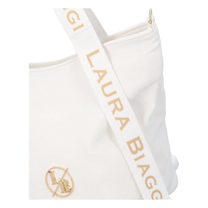 Zajímavá a módní dámská koženková kabelka Martina LB, bílá