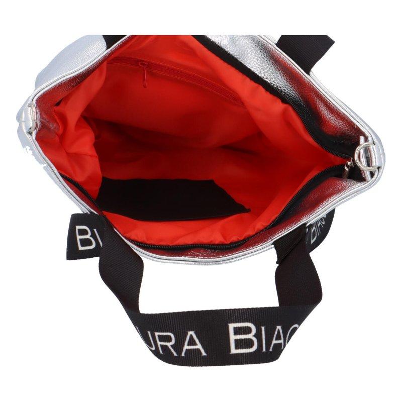 Zajímavá a módní dámská koženková kabelka Martina LB, stříbrná