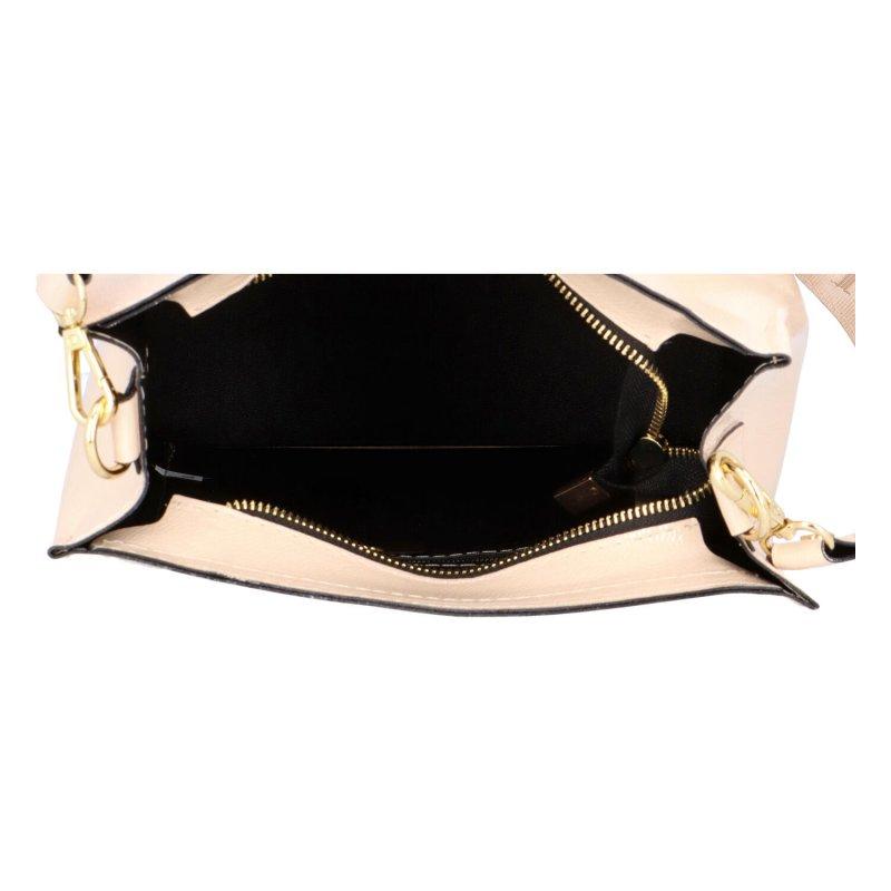 Pevná koženková kabelka Ricco, béžová